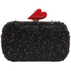 Diane Von Furstenberg Women Love Resin Crystal Clutch ($510) ❤ liked on Polyvore featuring bags, handbags, clutches, black, borse, clasp purse, crystal purse, heart purse, black handbags and black clutches