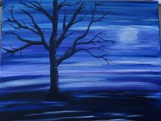 Original abstract moonlight acrylic tree painting on by ArtWorkbyM, $42.00