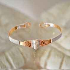 Classic Loop Wire Wrapped Bracelet Sterling Silver with 14 Kt GF Bindings