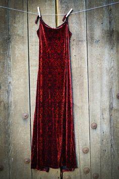 Vintage Red Baroque Velvet Dress...