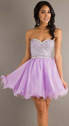 Short Lavender Sweetheart Basque Sleeveless Evening Dresses ykdress5116