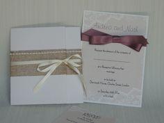 handmade hessian wedding invitations uk - Google Search Wedding Invitations Uk, Wedding Stationery, Hessian Wedding, Pearl Design, Handmade Wedding, Rsvp, Gift Wrapping, Place Card Holders, Rustic