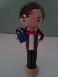 Doctor Who Clothespin Doll MADE TO ORDER by LittleBun on Etsy...Everyone's favorite doctor can now be found in clothespin form! Perfect for any Doctor Who enthusiast. Complete with a mini Tardis!