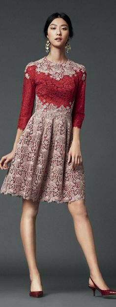 Color detail draws attention to bust while a flare skirt in a textured fabric will hide bottom heaviness