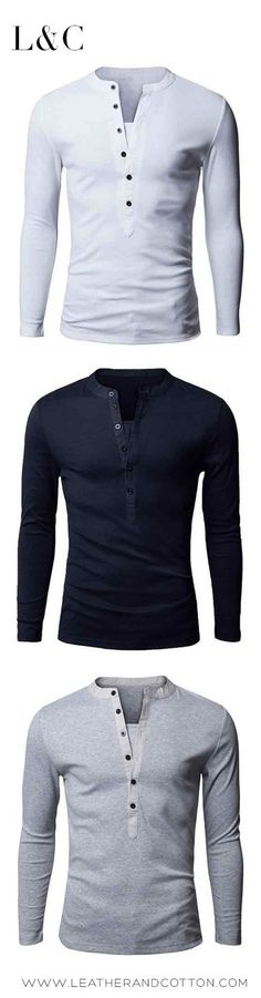 LS Deep Button Henley available NOW on www.Leatherandcotton.com #MensFashionSwag