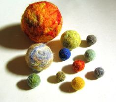 Needle Felted Solar System - Universe - Waldorf Educational Toy - Planets and Sun Decoration
