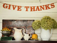 Use red-orange glitter to create this Thanksgiving banner. (http://www.hgtv.com/handmade/glittered-thanksgiving-banner/index.html?soc=Pinterest)