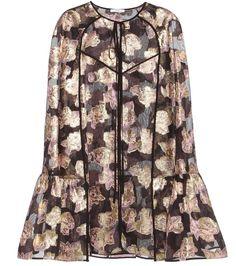 ERDEM Dark, Moody Floral Angela Fil Coupé CAPE with Lavender Roses, Golden Thread & Black Transparent Background