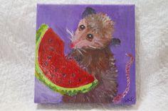 Opossum acrylic painting canvas art, easel, Original possum art, whimsical animal art,  mini  possum eating watermelon by SharonFosterArt on Etsy