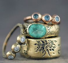 vintage gold rings with tree and blue gems #jewelry