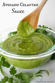 Avocado Cilantro Sauce. Great as an enchilada sauce or healthy condiment for Mexican dishes. Dip your taquitos, or dollop on tacos, nachos, and burritos as a healthier alternative to sour cream. Best of all it's vegan, gluten-free, and oil-free.