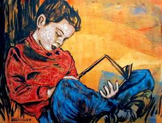 boy reading by David Bromley Reading Art, Kids Reading, David Bromley, People Reading, Art For Art Sake, Inspirational Books, Australian Artists, Graphic Illustration, Book Art