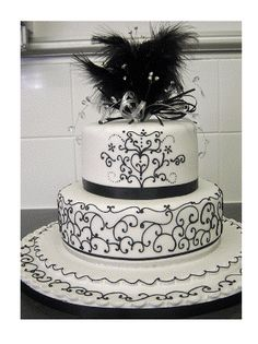 two tier cakes | Tier Round Black White and Lacy Wedding Cake | Wedding Celebration ...