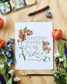 Is Anything Too Hard For the Lord Print - GraceLaced Bible Verse Painting, Bible Verse Wall Art, Bible Art, Scripture Crafts, Scripture Signs, Scriptures, Verses, Watercolor Flowers Tutorial, Flower Tutorial