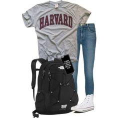 A fashion look from April 2016 featuring Frame Denim jeans, Converse sneakers and The North Face backpacks. Browse and shop related looks. Cute Fall Outfits, Preppy Outfits, Preppy Clothes, Outfits For Teens For School, Backpack Outfit, Backpack For Teens, North Face Backpack, Frame Denim, My Style