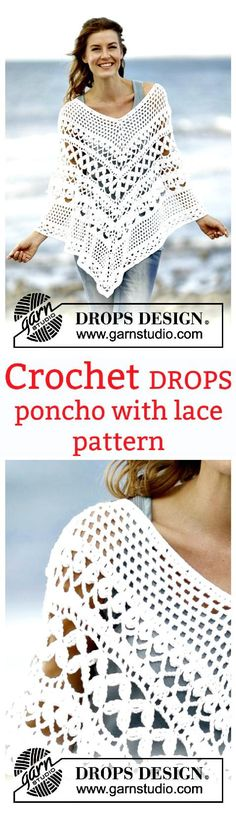 Crochet Poncho with Lace Pattern: - 20 Free Crochet Summer Poncho Patterns for Women's - Page 3 of 3 - DIY & Crafts