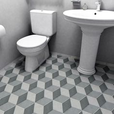 Each section of the SomerTile 8.75x8.75-inch Concret Cubic Vigeland Porcelain Floor and Wall Tile has a subtle pattern striped, thatched and dotted. When laid in succession, the pieces come together t
