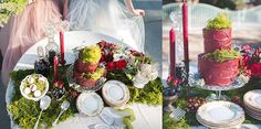 Woodsy Winter Feature in @french style weddings Roses Red Elegant Colors, Outdoor Whimsical Setting Engagement Party Cake Moss decoration