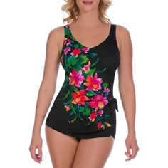 Suddenly Slim by Catalina Women's Slimming Side-Tie Sarong One-Piece Swimsuit
