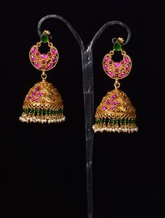 Temple Blossom Jhumkas. Indian pink, gold, and green earrings.