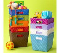 Kids' Storage Containers: Kids Canvas Cube Storage Bin in Storage Bins Ikea Toy Storage Units, Kids Storage Shelves, Cube Storage Baskets, Storage Hacks, Storage Containers, Storage Ideas, Cubbies, Diy Storage, Kitchen Storage