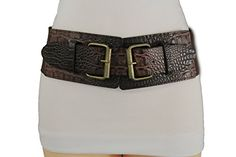 Trendy Fashion Jewelry Women Fashion Belt Hip High Waist Elastic Faux Leather Double Buckles S M Brown