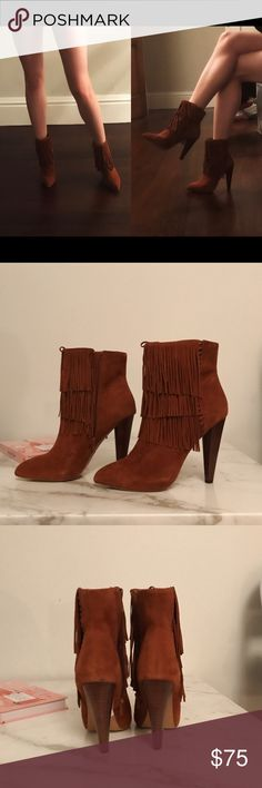 """Steve Madden Suede Fringe Ankle Boots Chestnut suede ankle boots from Steve Madden with fringe detail and 4.5"""" heel. Purchased from Nordstrom and worn once. Size 6.5, true to size. Steve Madden Shoes Ankle Boots & Booties"""