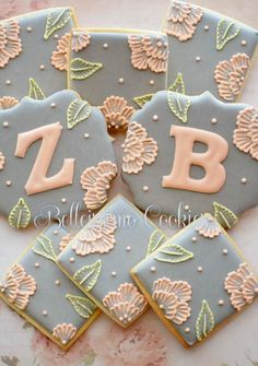 Monogrammed Brush Embroidery Wedding Cookies | Cookie Connection
