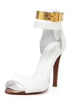 09982a1b323bf4 Sergio Rossi ~ Peep Toe White High Heel w Gold Ankle Strap