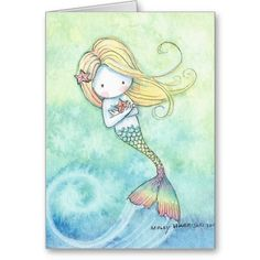 Cute and whimsical Little Mermaid Greeting Card by Molly Harrison Mermaid Drawings, Mermaid Art, Mermaid Paintings, Fantasy Kunst, Fantasy Art, Dream Catcher Drawing, Princess Painting, Mermaid Nursery, Mermaid Pictures