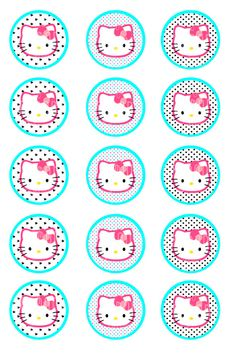 HELLO KITTY glam1 Inch Bottle Cap Images4x6 sheet by ceremoniaGlam, $2.00