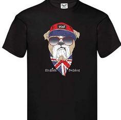 Camiseta english bulldog con bandera UK en color negro y manga corta Bulldogs, Color Negra, Mens Tops, T Shirt, Fashion, English Bulldogs, Best T Shirts, Sweatshirts, Full Sleeves