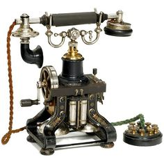 """highvictoriana: """"Skeleton Telephone Model AC 110 by L. Ericsson, Stockholm, """" A lovely addition to the steampunk home. Vintage Phones, Vintage Telephone, Antique Phone, Victorian Life, Steampunk House, Old Phone, Vintage Antiques, Art Decor, Retro Vintage"""