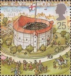 Reconstruction of Shakespeares Globe Theatre 25p Stamp (1995) The Hope, 1613