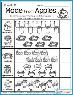 Who knew so many things could be made from apples? Great for your fall apple units. You can find this worksheet along with 49 others in my Fall Counting Worksheets for Kindergarten set. Please take a moment to check it out. Counting Worksheets For Kindergarten, Alphabet Tracing Worksheets, Number Worksheets, Upper And Lowercase Letters, Lower Case Letters, Counting To 20, Apple Unit, Writing Lines, Learn To Count