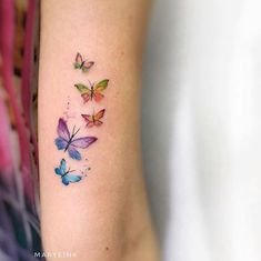 Butterflies by Mary Ellen butterfly tattoo Butterflies by Mary Ellen - Tattoo, Tattoo ideas, Tattoo shops, Tattoo actor, Tattoo art Watercolor Butterfly Tattoo, Tiny Butterfly Tattoo, Butterfly Tattoo Meaning, Mini Tattoos, Small Tattoos, Baby Tattoos, Tattoo Girls, Tattoo You, Finger Tattoos