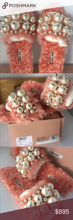 Miu Miu Faux Fur Pearl Slides Flats Sandals 36.5 100% Authentic Miu Miu Eco Shearling Pearl Slides Flats Slippers in Corallo Color Sz 36.5.   Brand new in original box as pictured. A few pearls may have faint scratches upon from shipping/handling.   Super popular & luxurious!!   Product Details: Luminous faux pearls adorn eco-shearling slides Embellished faux shearling upper lining/synthetic sole; leather lined underside of pearly strap Open toe Slip-on style Leather bottom sole Fur type…