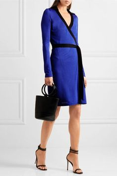 Diane von Furstenberg - Jeannae Two-tone Stretch-knit Wrap Dress - Cobalt blue - US10