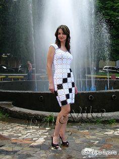 Uncinetto d'oro: Bellissimo abito bianco con quadrati neri!!!
