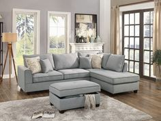 3 pc Cleveland collection light grey woven fabric upholstered sectional sofa couch with reversible chaise and storage ottoman Small Living Rooms, Living Room Sofa, Living Room Decor, Modern Living, Family Rooms, Cozy Living, Modern Sofa, 3 Piece Sectional Sofa, Sofa Set