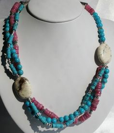 Turquoise & Mother of Pearl Triple Strand Necklace