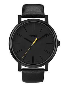 Timex Grande Classic: Overscale in all black with a fluoro yellow second hand.
