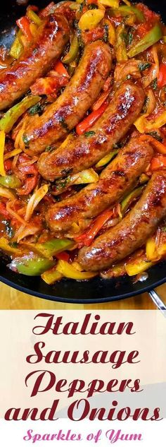 Italian Sausage Peppers and Onions - Quick easy and delicious one skillet dinner! This recipe for Italian Sausage Peppers and Onions is so versatile. You can have it over mashed potatoes pasta polenta cauliflower rice or as an Italian sub sandwich. Baked Ziti With Sausage, Sausage Recipes For Dinner, Best Dinner Recipes, Italian Dinner Recipes, Sausage Rice, Healthy Sausage Recipes, Italian Entrees, Sausage Gumbo, Chicken Sausage