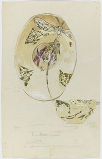 Drawing, Design for a Cup and Saucer with Dragonflies, 1878-1889