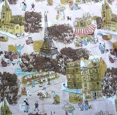 Vintage Barkcloth Fabric PARIS Scene by LunaParkVintage on Etsy