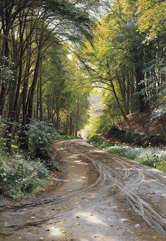 "Peder Mork Monsted (1859-1941) ""Chemin Dans Un Bois"" 39 3/4 by 27 1/2 in."