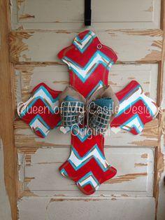 Chevron Cross Door Hanger by queensofcastles on Etsy https://www.etsy.com/listing/196548919/chevron-cross-door-hanger