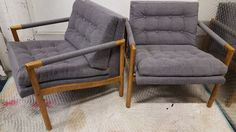 Pair of Drexel tufted club chairs reupholstered in gray tweed, 1969