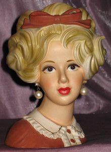 "VTG Inarco- *LADY W/ BIG BOW IN HAIR HEAD VASE* Girl Planter 7""T- NEAR MINT"