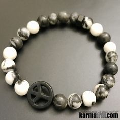 """Zebra Jasper is the """"anti-apathy"""" stone. It allows you to be optimistic, despite life's stresses and gives you more initiative to tackle those problems. It will encourage you to dare to dream and turn those dreams into reality. ....Bracelets I Beaded & Charm Yoga Mala I Meditation & Mantra I Spiritual. zebra jasper peace sign."""